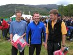 Elite winners Mark Seddon and Mark Hartell pose with Dave Suddes of Lowe Alpine