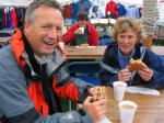 Alastair and Angie Miller start the day with sausage and egg butties