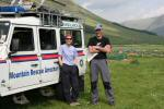 Jane Grimley and Calum Whiteford of Arrochar Alps Mountain Rescue Team at mid camp